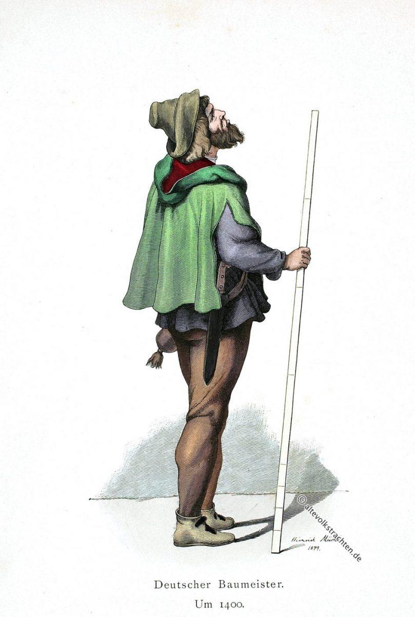 Baumeister, Mittelalter, Bauhütte, Kostüm, Tracht, Architekt