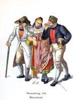 Bauerntrachten. Bauersleute aus Braunschweig, 1840.