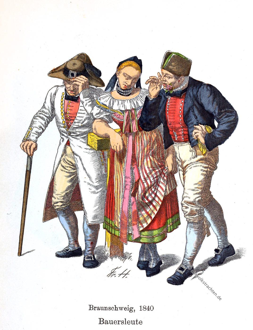 Braunschweig, Bauern, Bauerntrachten, Trachten, Niedersachsen, Kostümkunde, Friedrich Hottenroth