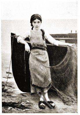 Fischermädchen, Bretagne, Brittany, Trachten, Sabine Baring-Gould,