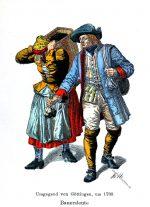 Bauerntrachten aus der Umgebung von Göttingen, um 1780.