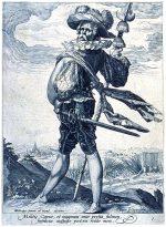 Oberst mit Hellebarde und Schwert.