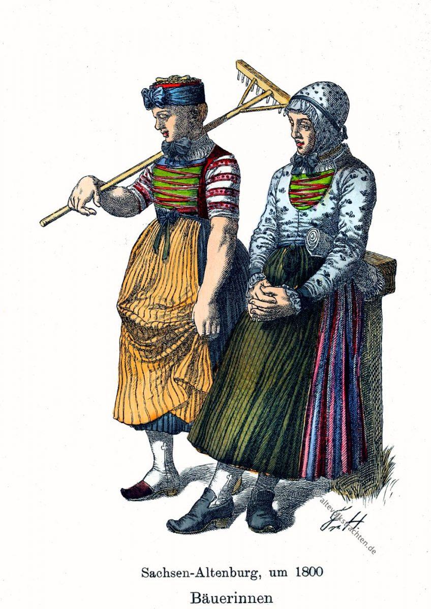 Sachsen-Altenburg, Thüringen, Bäuerinnen, Trachten, Kostüme, Friedrich Hottenroth