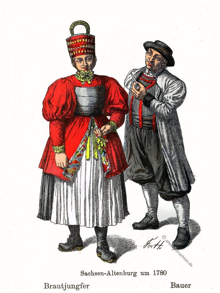 Brautjungfer, Hormtjungfer, Bauer, Sachsen-Altenburg, Thüringen, Trachten, Kostüme, Friedrich Hottenroth