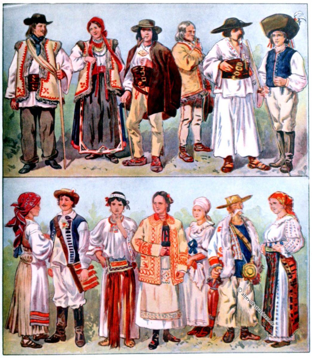 Trachten, Ungarn, Kroatien, Rumänien, Ruthenien, Slowakei