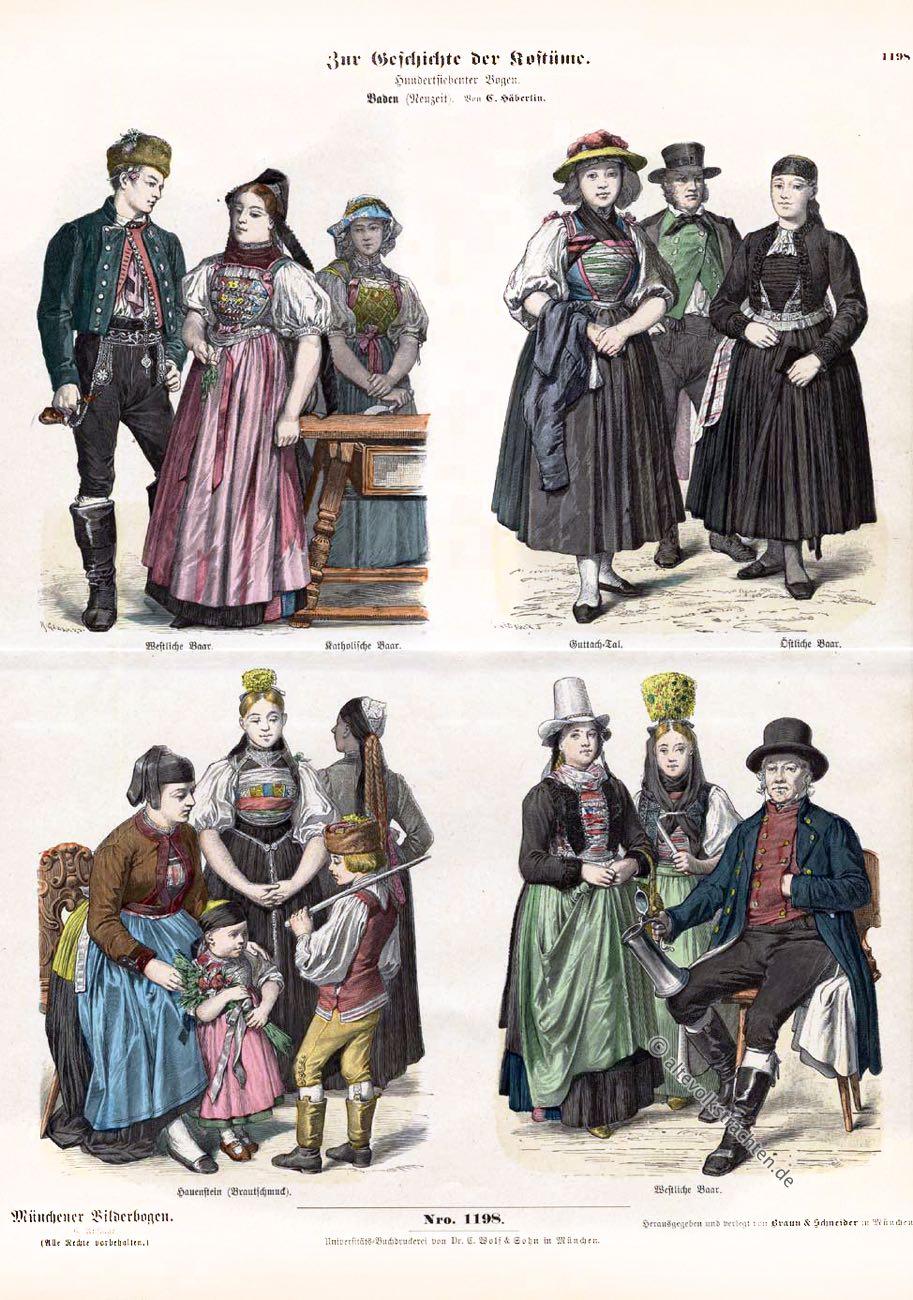 Münchener Bilderbogen, Schwarzwald, Baden, Hauenstein, Baar, Guttach Tal, Brautschmuck