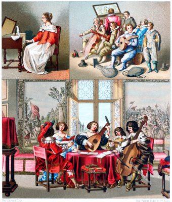 FRANKREICH, FLANDERN, INNENRAUM, BÜRGERLICHE TRACHTEN, MUSIKINSTRUMENTE, Auguste Racinet, Mode, Kostüme, Barock