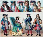 Trachten des Adels unter Ludwig XIV. Mode des 17. Jahrhunderts.