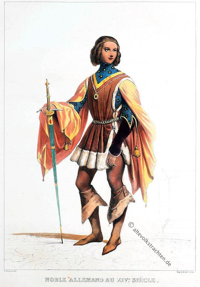 Deutscher, Edelmann, Noble, Allemand, Mode, Kostüm, Mittelalter