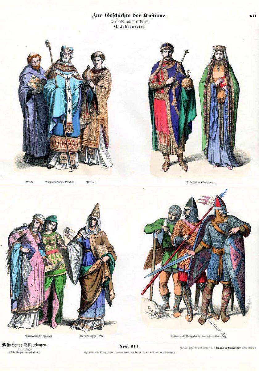 Ritter, Kriegsknecht, Kreuzzug, Normannen, Bischof, Fränkisches Königspaar, Münchener Bilderbogen