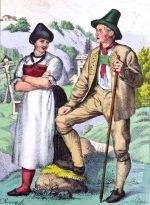 Trachten aus dem Tiroler Oberinntal um 1847.