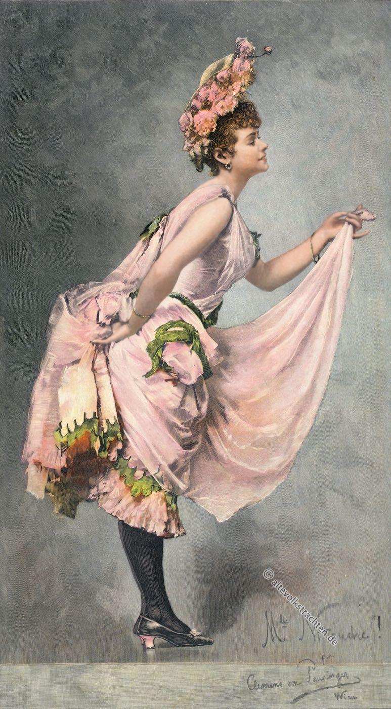 Cul de Paris, Tournüre, Modezeichnung, Kostümgeschichte, 19 Jahrhundert, Clemens von Pausinger, Nitouche, Künstler, Österreich