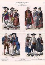 Schweizer Kostüme Ende des 18. Jahrhunderts.