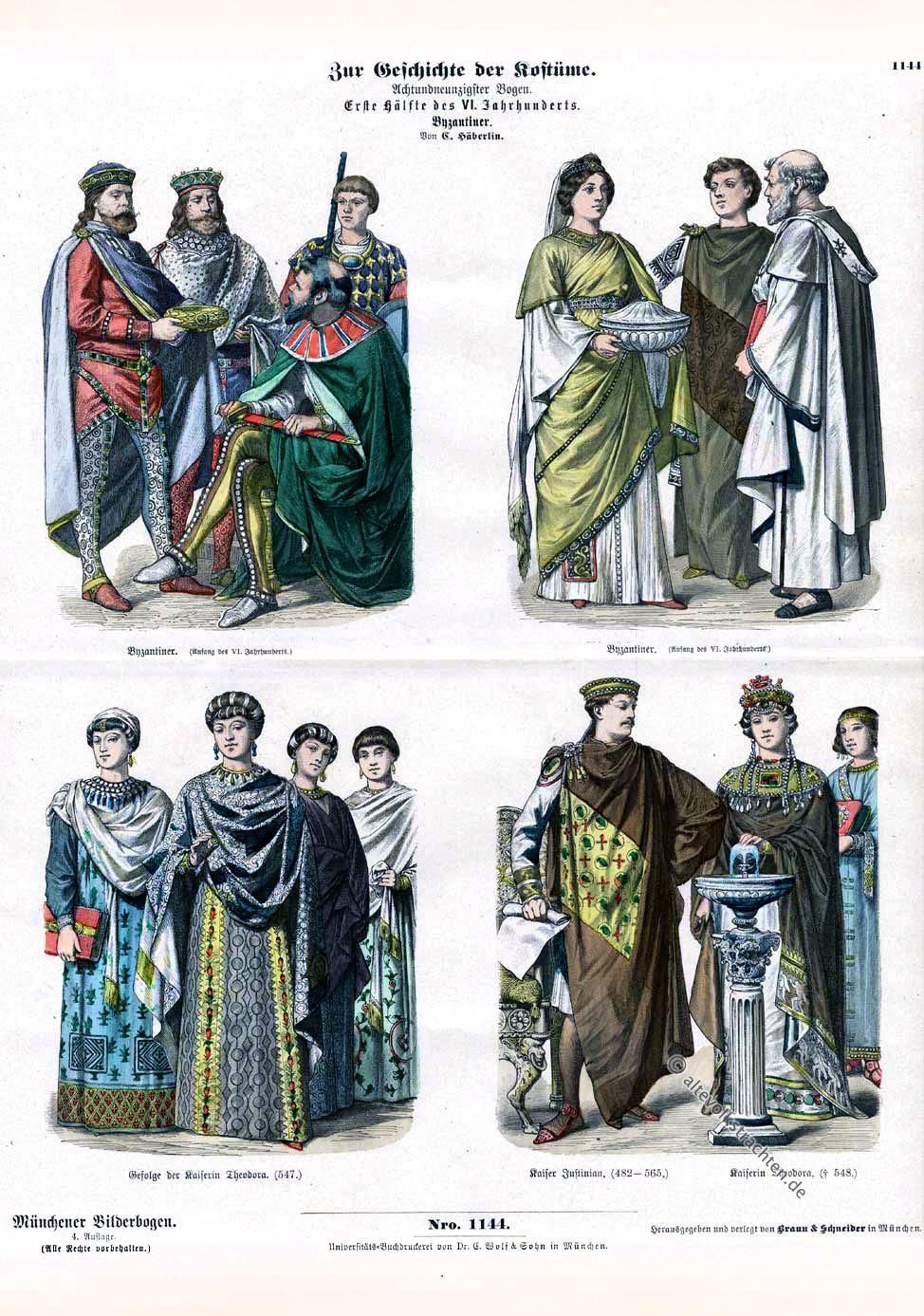 Kaiser Justinian, Kaiserin Theodora, Byzantiner, Byzanz, Kleidung, Mode, Münchener Bilderbogen.