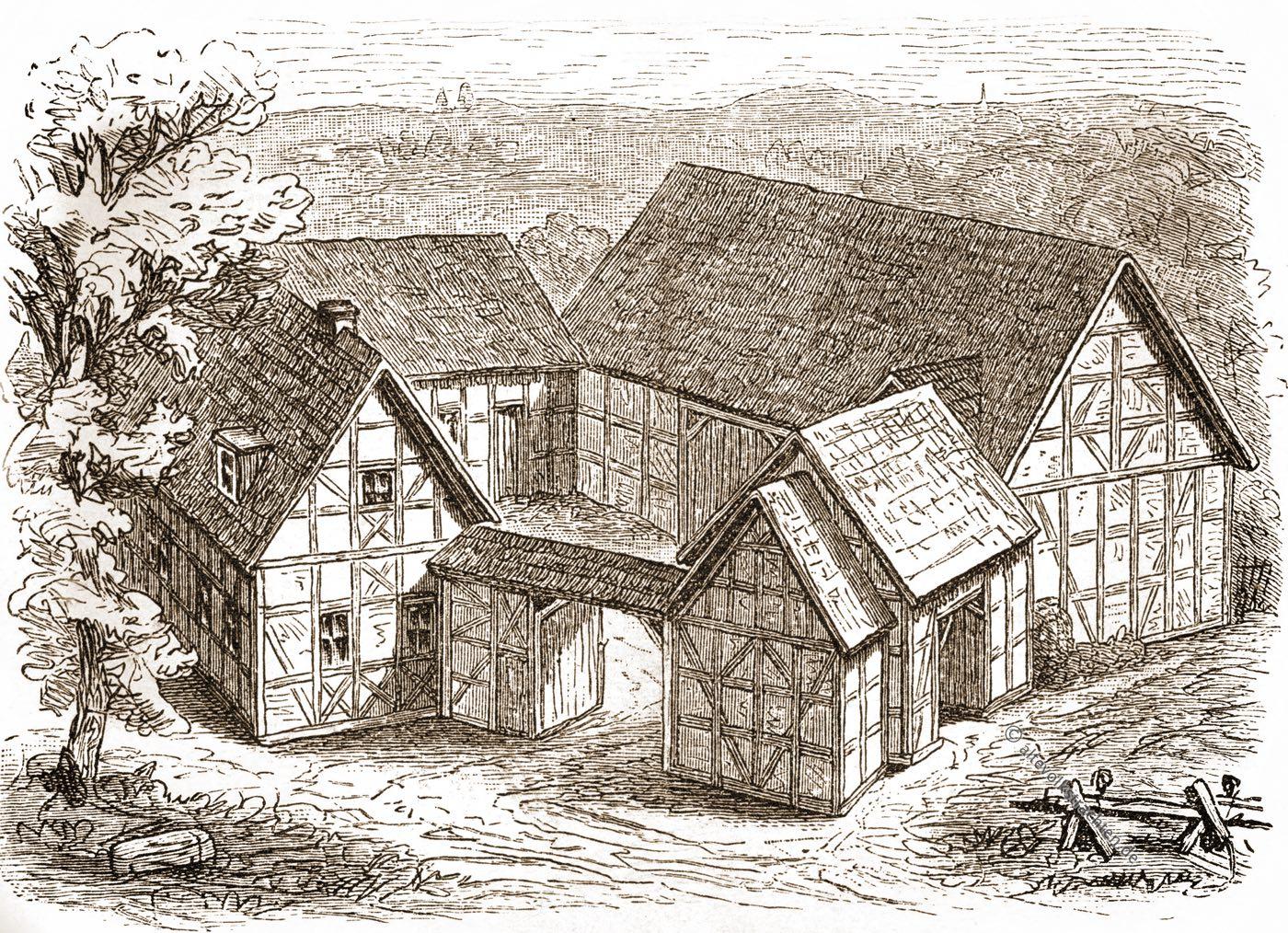 Bauernhof, Architektur, Thüringen, Franken, Kupferstich, Meyers, Konversations-Lexikon