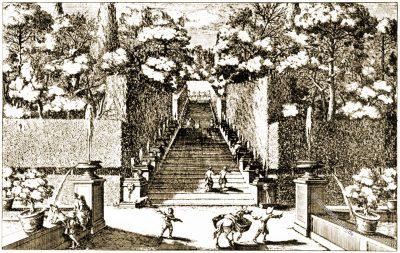 Villa d'Este, Fontane, Roma, Gartenplan, Gartenkunst, Kupferstich, Fontänengarten