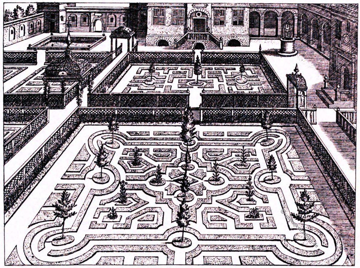 Vredeman, Gartenentwurf, ionisch, Kupferstich, Hans Vredeman de Vries, Renaissance,
