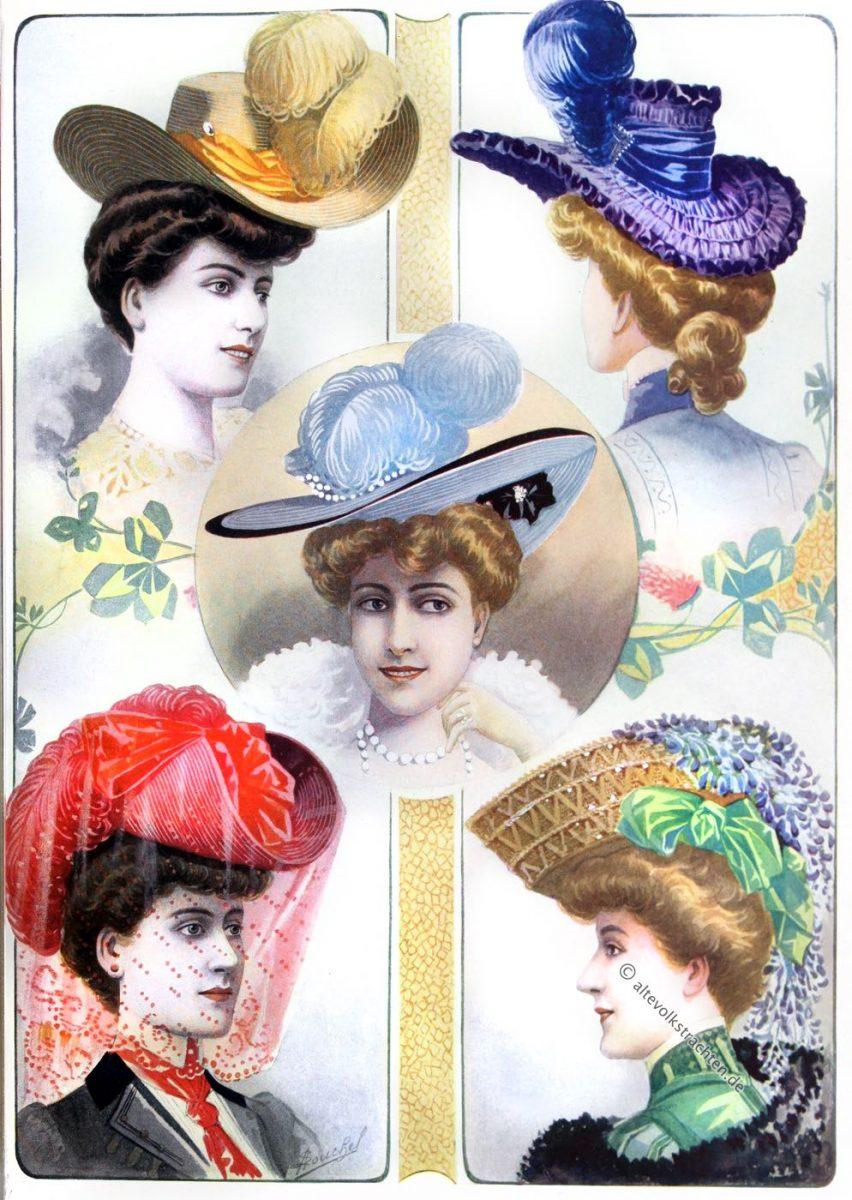 Mode, Belle Époque, Chapeaux, Demi-Saison, Hutmode, Jugendstil, THE QUEEN,