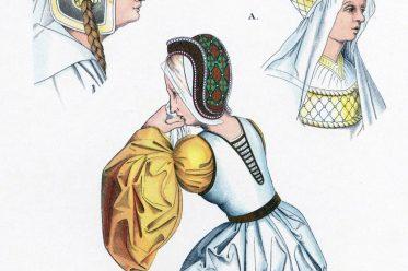 Hennin, Burgunder Mode, Haube, Mittelalter, Gotik, Flandern, Kopfbedeckungen, Hefner-Alteneck