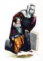 Türkische Frau und Kind. Trachten 19. Jahrhundert.