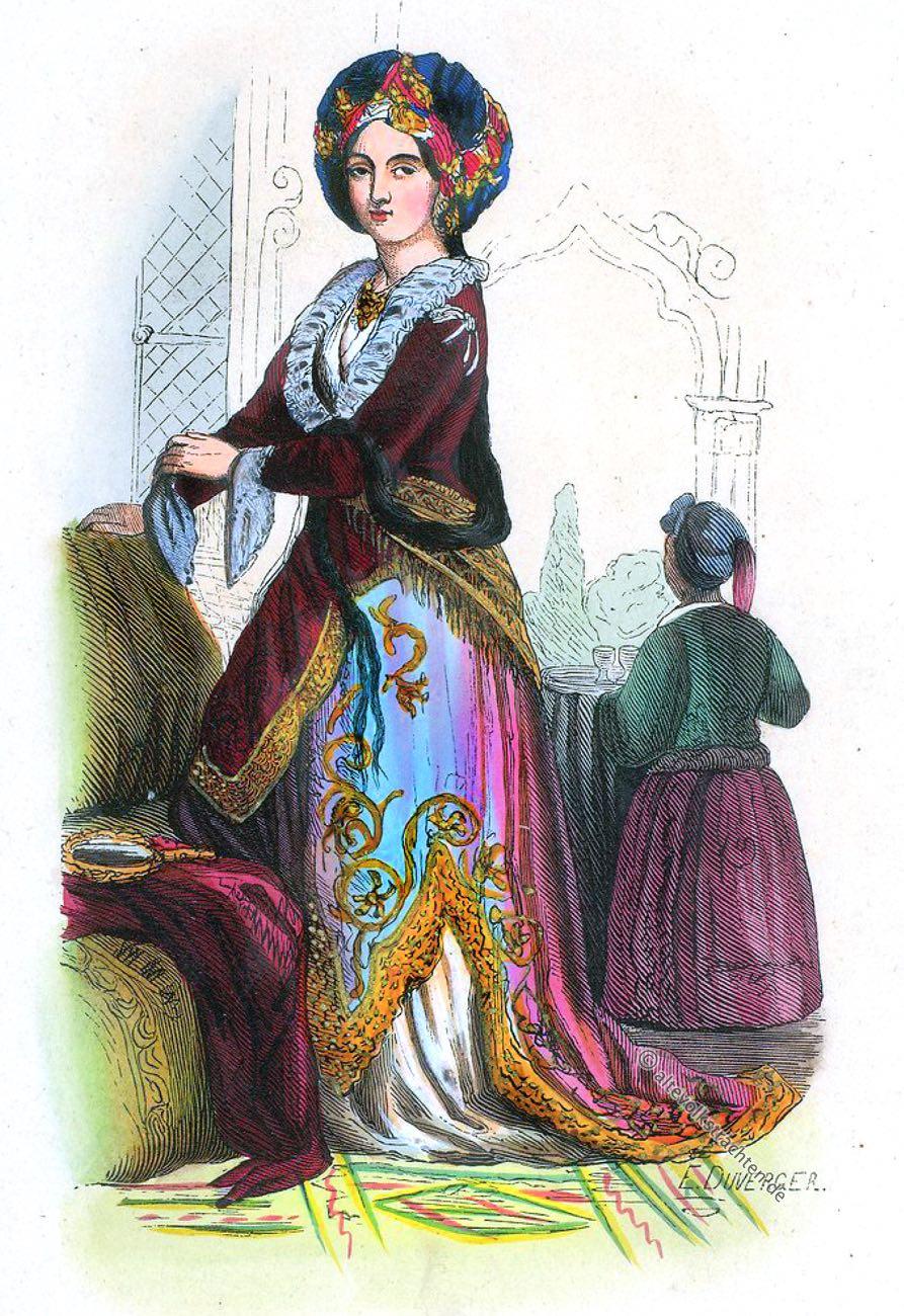 Kleidermode, Osmanisches Reich, Dame, Türkei, Turque, August Wahlen, Kostümgeschichte, Orient,