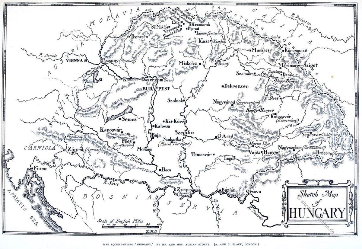 Skizzenkarte, Ungarn, Map, Hungary.