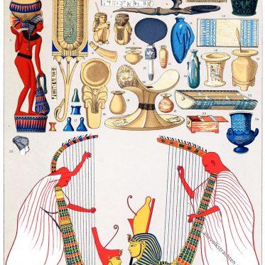 Auguste Racinet, Ägypten, Hausgeräte, Antike, Priester, Kleidung, Parfümbehälter, Weihrauchlöffel, Spiegel,