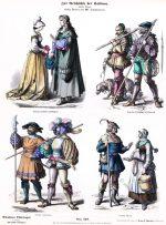 Deutsche Bürger, Miltär, und Bauerntrachten um 1530.