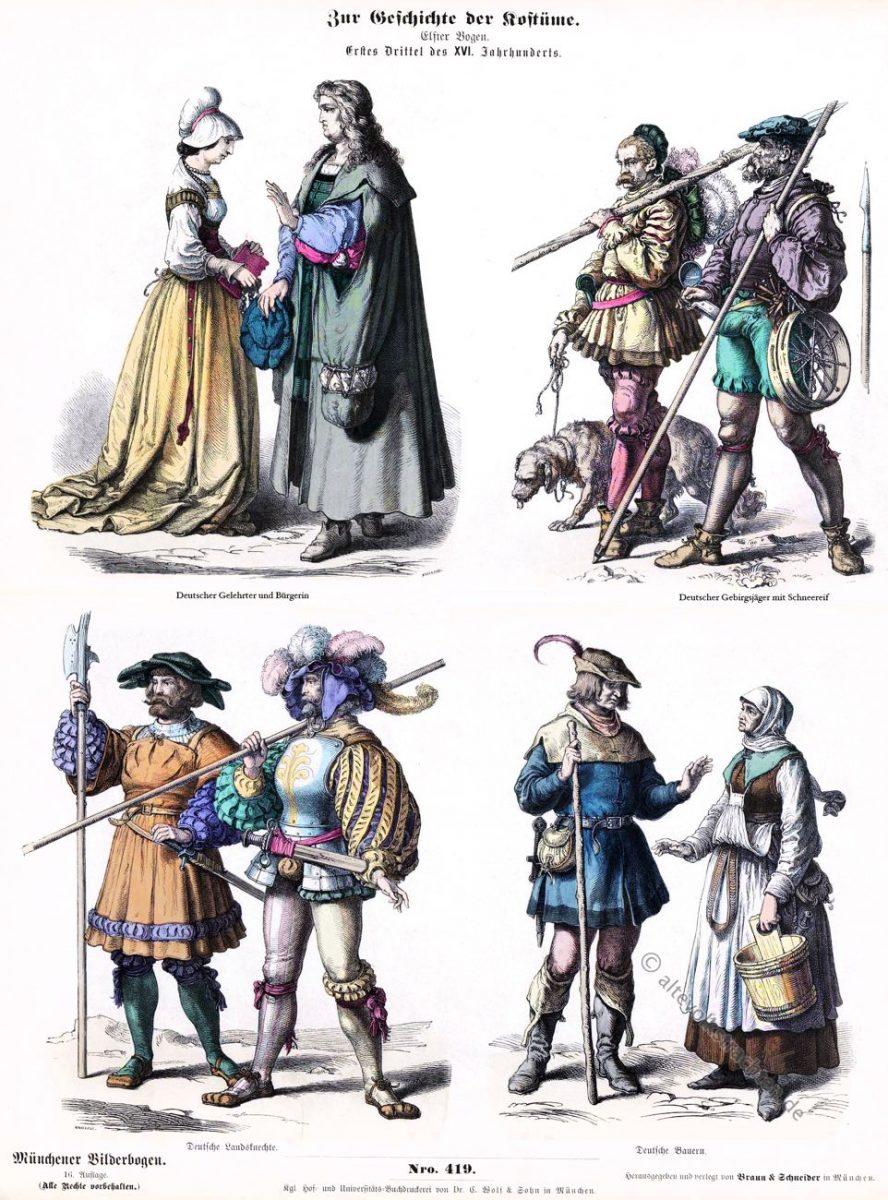 Münchener Bilderbogen, Trachten, Gelehrter, Bürgerin, Gebirgsjäger, Landsknechte, Bauern, Renaissance