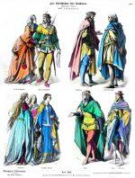 Fürst, Edeldamen, Page. Trachten im 14. Jahrhundert.