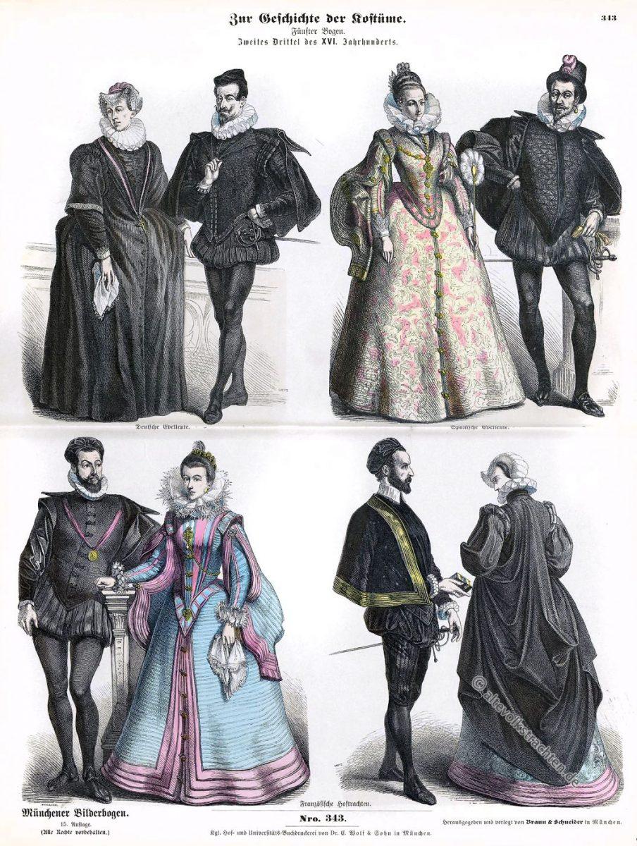Münchener Bilderbogen, Edelleute, Spanien, Frankreich, Deutschland, Renaissance, Kostümepoche, Modegeschichte