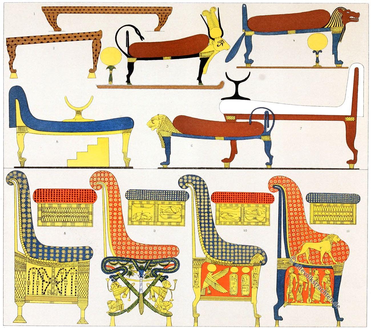Auguste Racinet, Ägypten, Mobiliar, Antike, Ruhebetten, Thronsessel, Stühle,