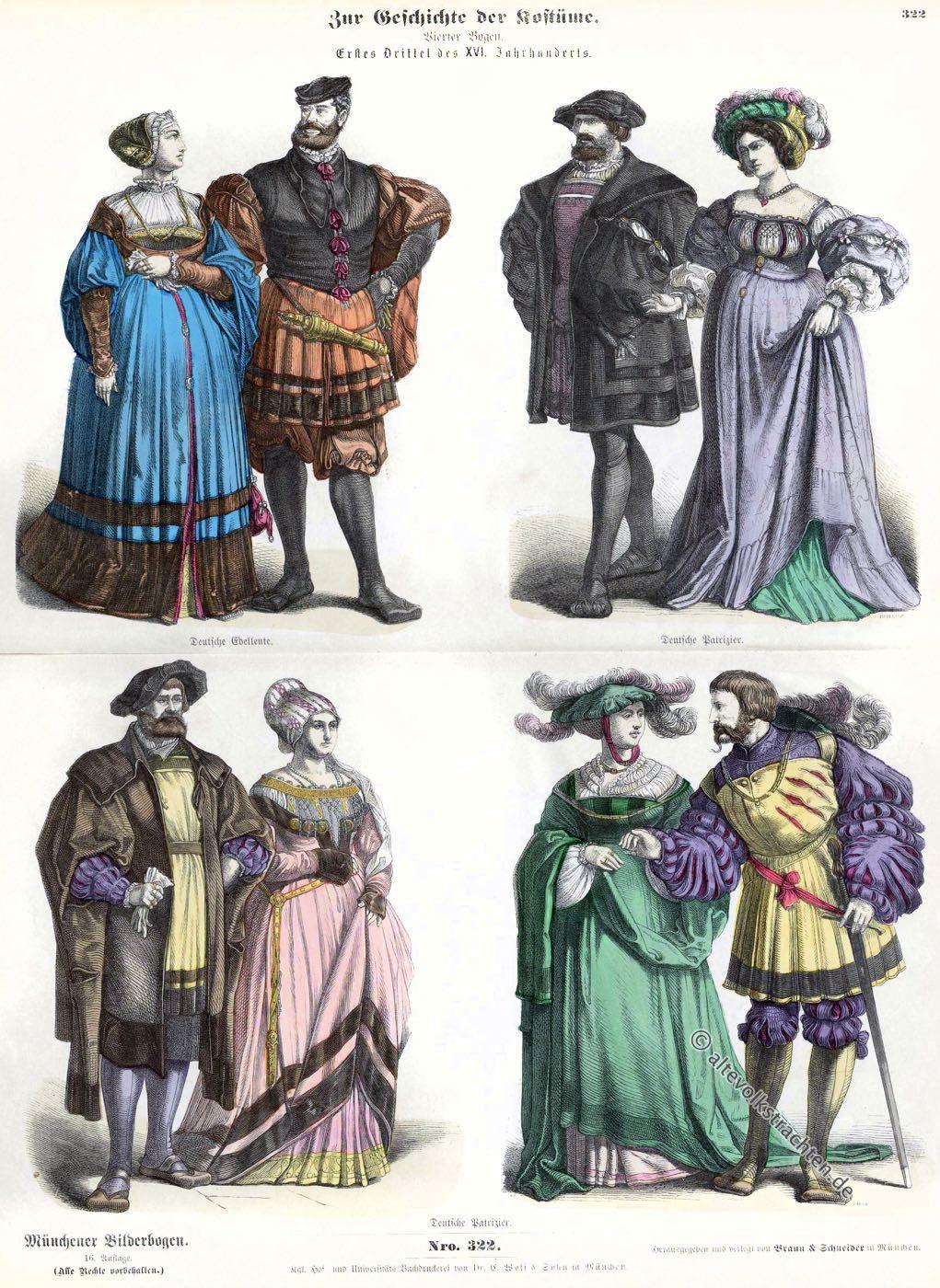 Münchener Bilderbogen, Edelleute, Patrizier, Patrizierin, Renaissance, Kostümepoche,