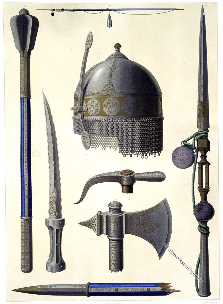 Armes, Toman-Bay, Arabien, Damaszener, Waffen, Helm, Speer, Dolch, Axt, Djuban, Khorasan, Émile Prisse d'Avennes