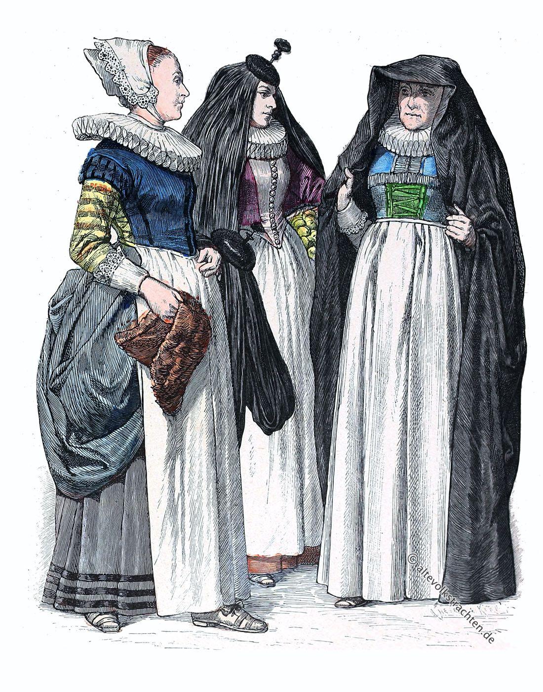 Münchener Bilderbogen, Trachten, Kostüme, Barock, Köln, Dienstmädchen, Matrone, Frauentrachten