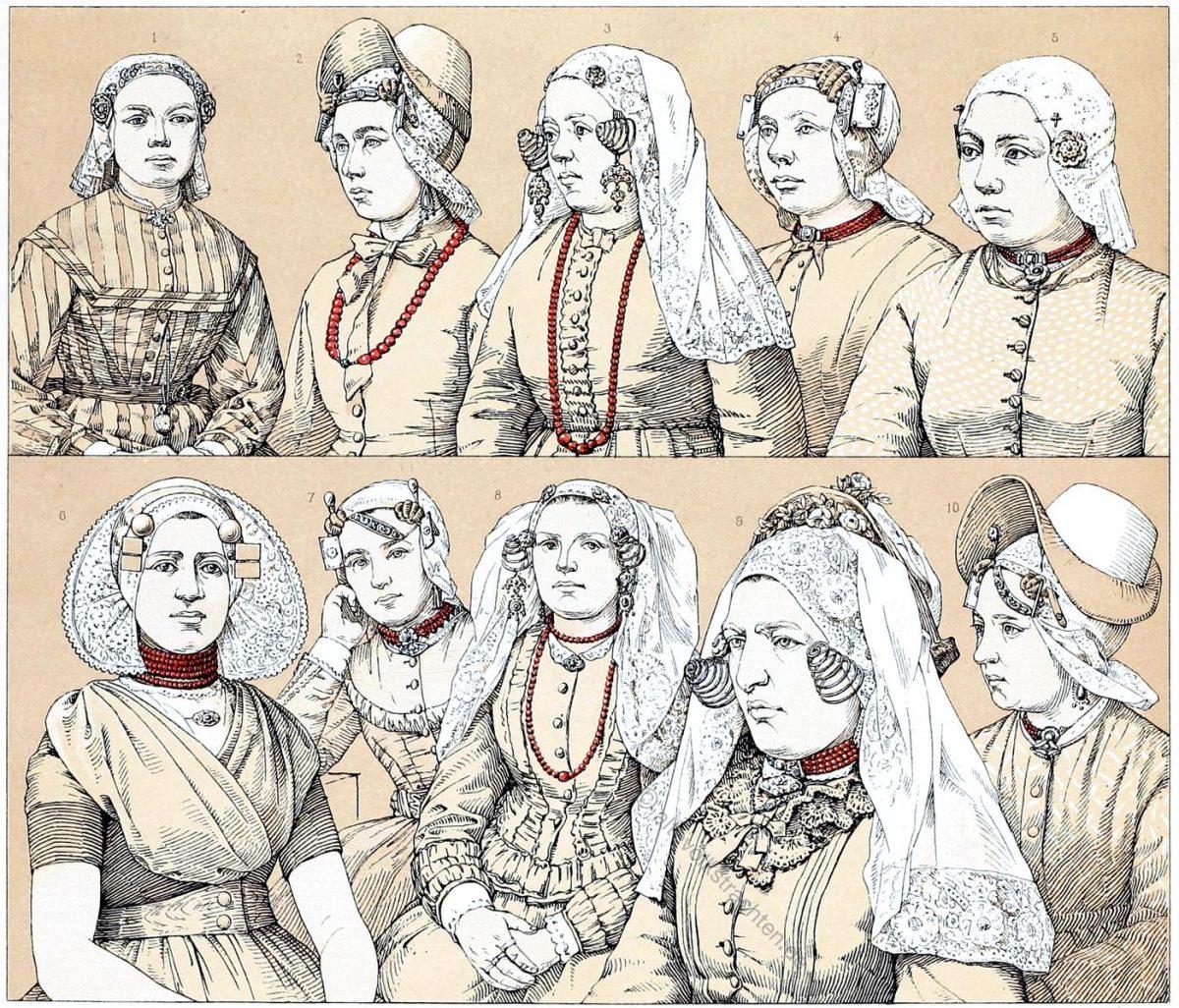 Holland. Haartrachten der Frauen im 19. Jh.