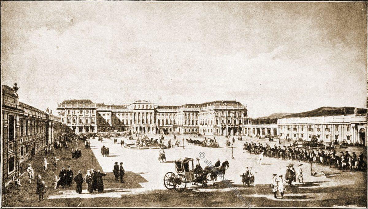 Der Vorhof des Kaiserlichen Lustschlosses Schönbrunn, Ehrenhofseite (1759)(Kunsthistorisches Hof-Museum.) Bernardo Bellotto genannt Canaletto (1722-1780).