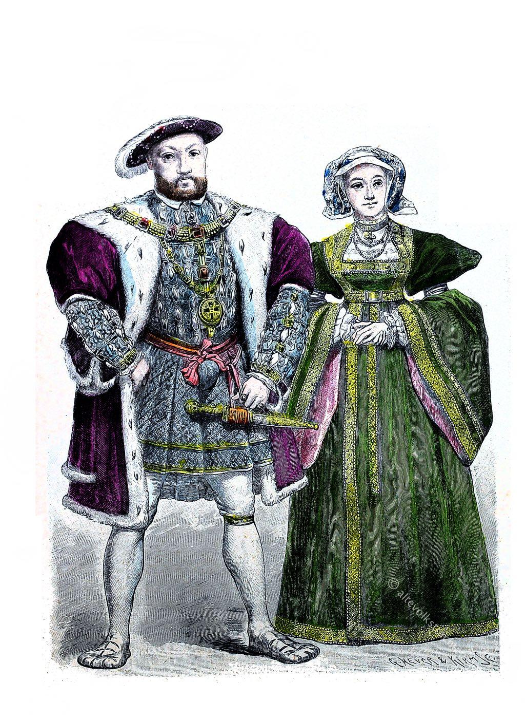 Heinrich VIII, Anna von Cleve, Münchener, Bilderbogen, England, Tudor, Mode, Renaissance