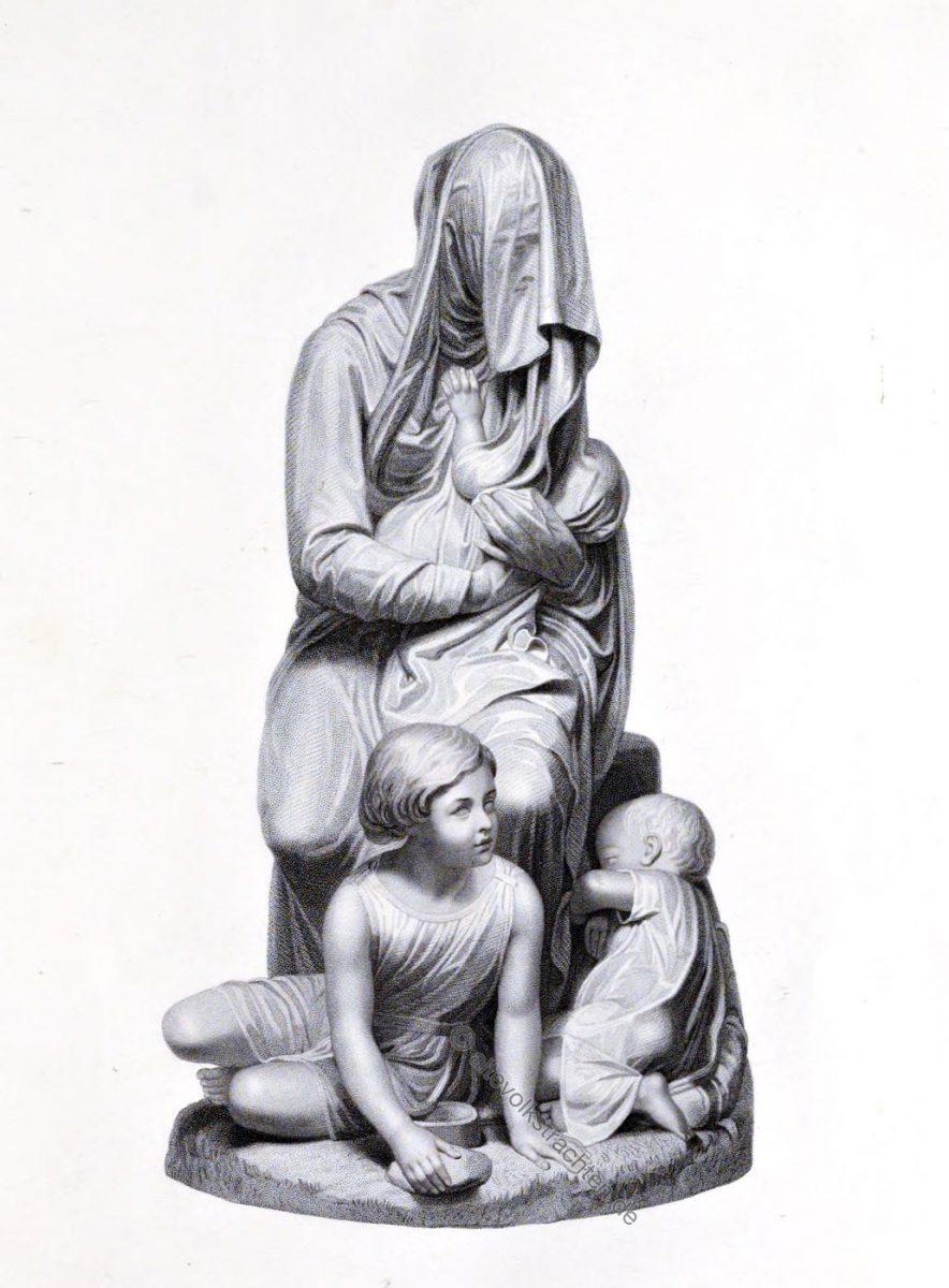Die schüchterne Bettlerin. Graviert von W. H. Motte. Aus der Gruppe von M. Gandolphi aus Mailand.