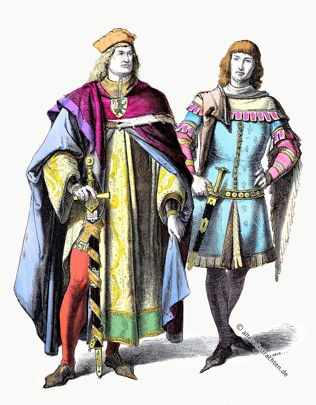 Münchener Bilderbogen, Mittelalter, Deutschland, Fürst, Ritter, Kostüme, Modegeschichte, 14. Jahrhundert,