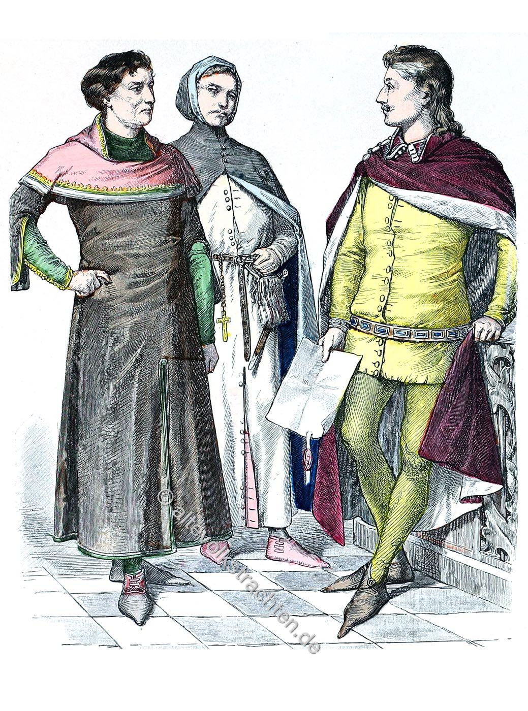 Münchener Bilderbogen, Mode, England, Mittelalter, Kaufleute, Edelmann, Kostüme, Trachten
