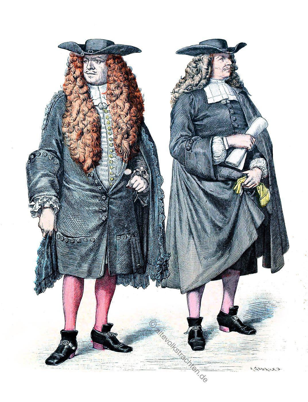 Münchener Bilderbogen, Mode, Barock, Strassburg, Kostüme, Ratsherr, Consul, Allongeperücken