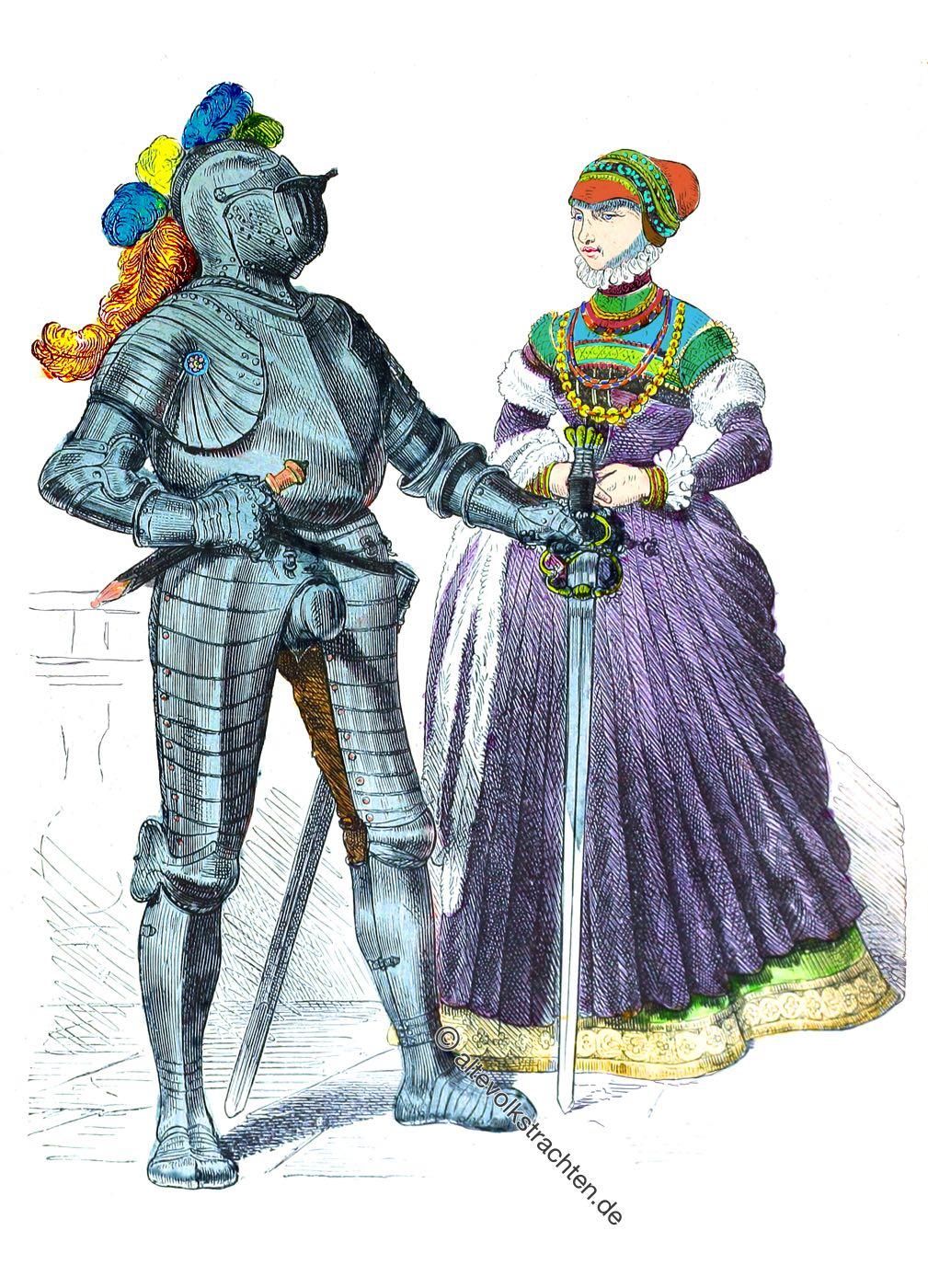 Ritter, Edelfrau, Gewandung, Kostüme, Mittelalter, Renaissance, Mode, Münchener Bilderbogen