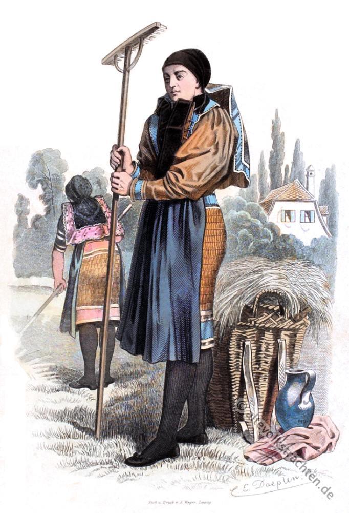 Sachsen-Altenburg, Tracht, Volkstrachten, Thüringen, Bauernmädchen, Arbeitstracht Historische Kleidung,