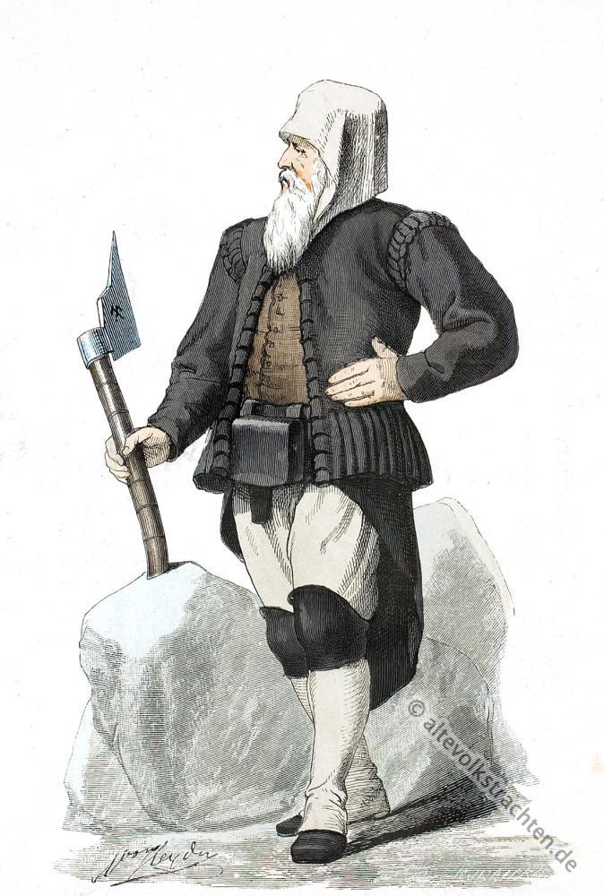 Historisches Kostüm, Tracht, Sachsen, Bergmann, Deutsche Volkstrachten, Lipperheide