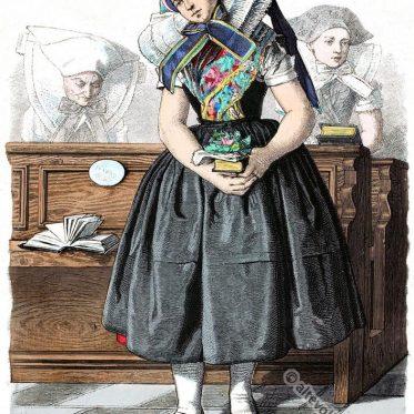 Wendisches Bauernmädchen in Sonntagstracht um 1880.