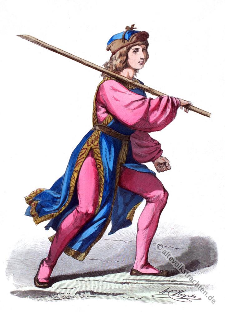Burgund, Burgunder, Knappe, Mittelalter, Kostüm, Kostümgeschichte, 15. Jahrhundert
