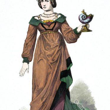 Vornehme deutsche Frau in der Mode um 1480.