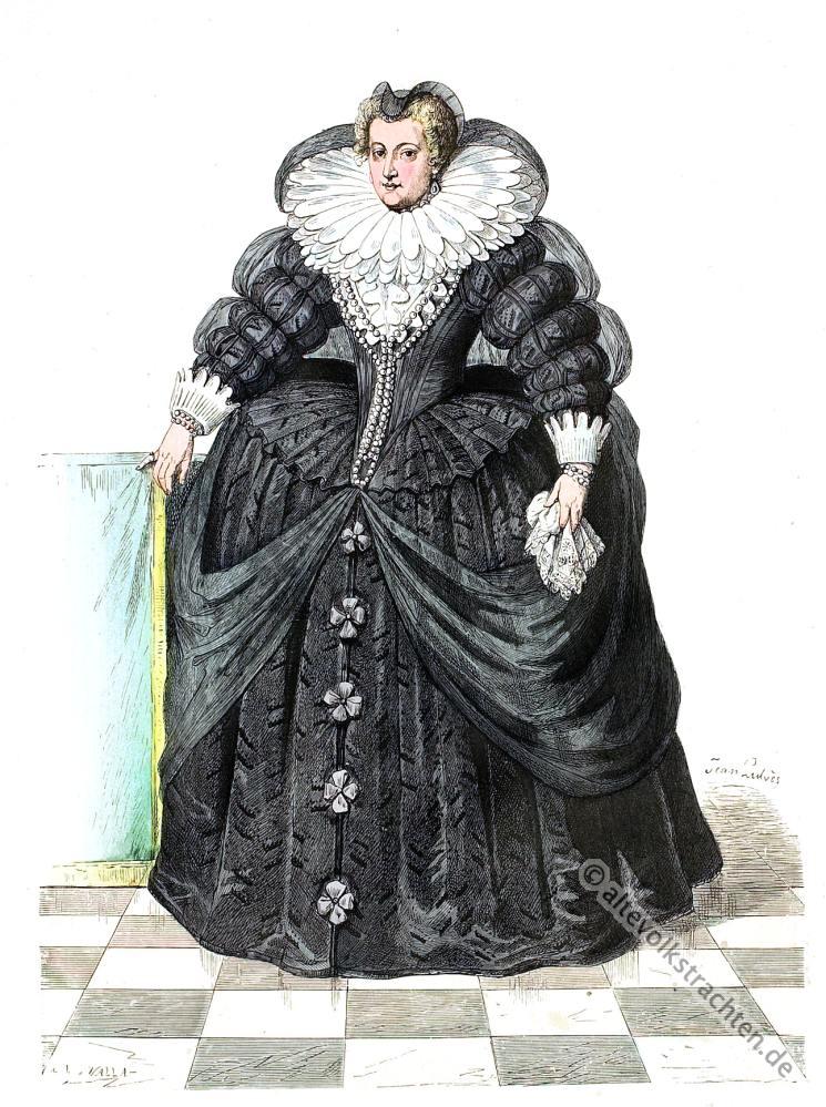 Maria, Medici, Königin, Frankreich, Barock Kostüme, Spanische Hoftracht, Modegeschichte, Kostümgeschichte,