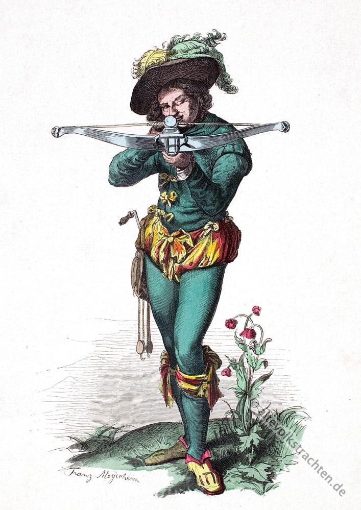 Mode, Barock, Scheibenschütze, Armbrust, 16. Jahrhundert, Kostümgeschichte